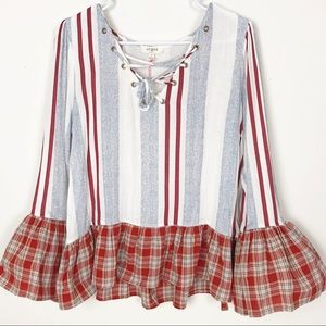 Umgee Lace Up Top Plaid Ruffle Hem Bell Sleeve